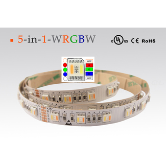 LED flexibler Strip, RGBWW , CCT von warmweiß bis kaltweiß, IP20, CRI 90, 24W/m, 60 LED/m, 5 Meterrolle